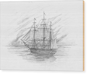 Sailing Ship Enterprise Wood Print by Michael Penny