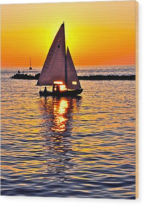 Sailing Silhouette Wood Print by Frozen in Time Fine Art Photography