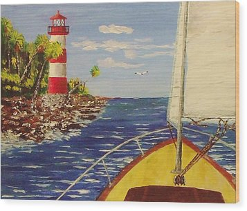 Sailing The Coast Wood Print