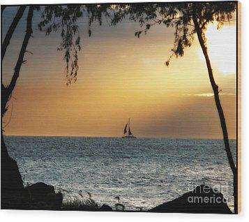 Sailing The Ocean Blue Wood Print by Leslie Hunziker