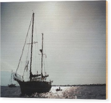 Out Sailing The Seas Wood Print by Belinda Lee