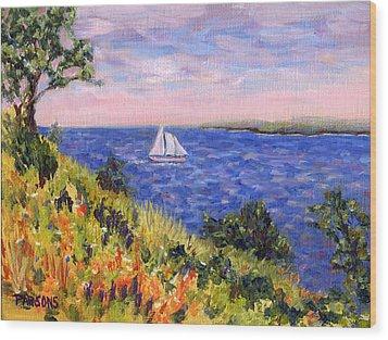 Sailing Through Belfast Maine Wood Print by Pamela Parsons