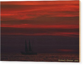 Wood Print featuring the photograph Sailing Through The After Glow by Richard Zentner
