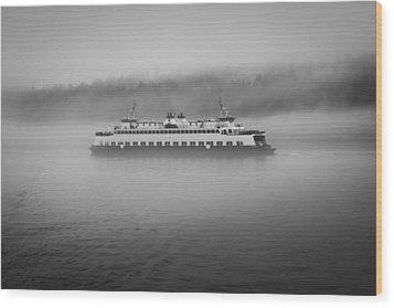 Sailing Through The Fog Wood Print