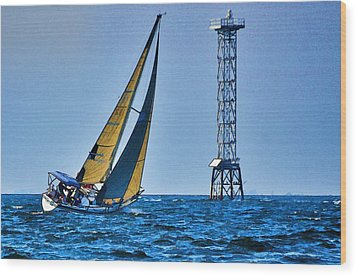 Sailing Towards The Tower Wood Print by Pamela Blizzard
