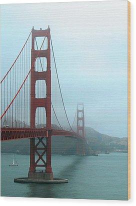 Sailing Under The Golden Gate Bridge Wood Print