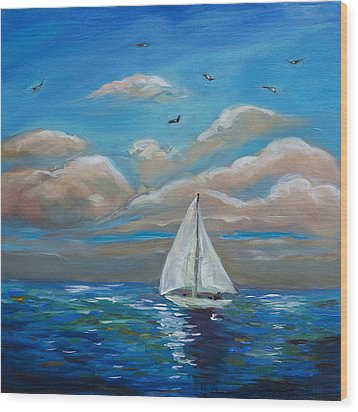 Sailing With My Dad Wood Print