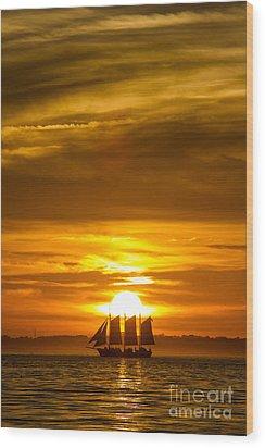 Sailing Yacht Schooner Pride Sunset Wood Print by Dustin K Ryan