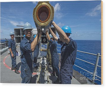 Sailors Load Rim-7 Sea Sparrow Missiles Wood Print by Stocktrek Images
