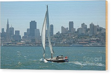 Sailors View Of San Francisco Skyline Wood Print by Connie Fox