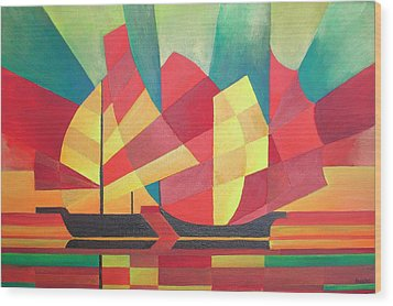 Wood Print featuring the painting Sails And Ocean Skies by Tracey Harrington-Simpson