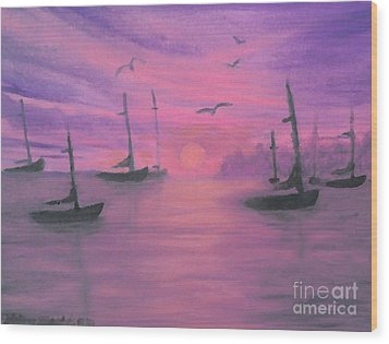 Sails At Dusk Wood Print
