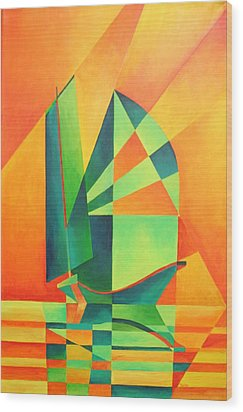 Wood Print featuring the painting Sails At Sunrise by Tracey Harrington-Simpson