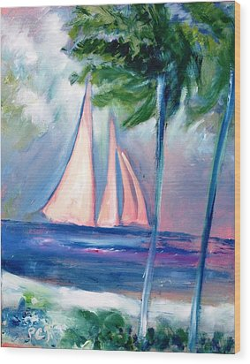 Sails In The Sunset Wood Print by Patricia Taylor