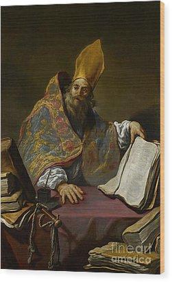 Saint Ambrose Wood Print by Claude Vignon