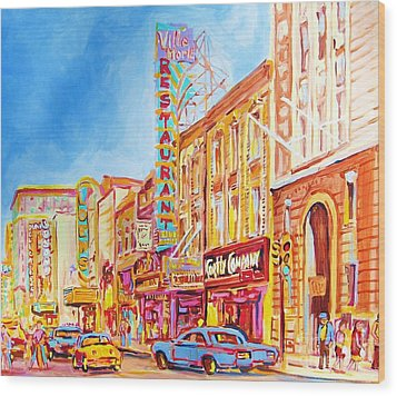 Wood Print featuring the painting Saint Catherine Street Montreal by Carole Spandau
