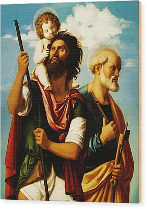 Saint Christopher With Saint Peter Wood Print by Bill Cannon