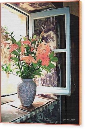 Saint Emilion Window Wood Print by Joan  Minchak