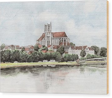 Wood Print featuring the painting Saint-etienne A Auxerre by Marc Philippe Joly