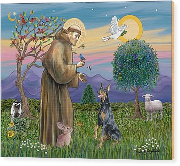 Wood Print featuring the digital art Saint Francis And Doberman Pinscher by Jean Fitzgerald