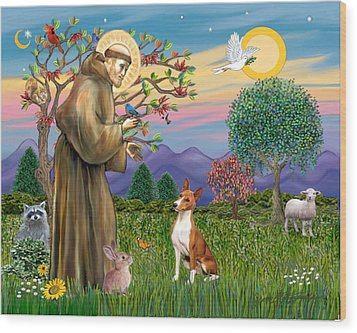 Wood Print featuring the digital art Saint Francis Blesses A Basenji by Jean Fitzgerald