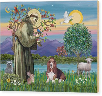 Wood Print featuring the photograph Saint Francis Blesses A Basset Hound by Jean Fitzgerald