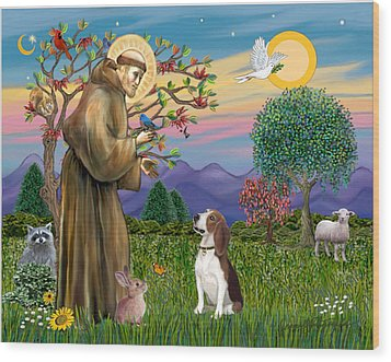 Wood Print featuring the digital art Saint Francis Blesses A Beagle by Jean B Fitzgerald
