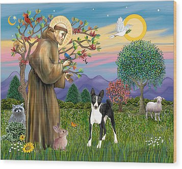 Wood Print featuring the digital art Saint Francis Blesses A Black And White Basenji by Jean Fitzgerald