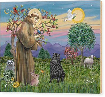 Saint Francis Blesses A Black Chinese Shar Pei Wood Print