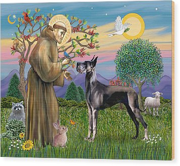 Wood Print featuring the digital art Saint Francis Blesses A Black Great Dane by Jean Fitzgerald
