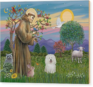 Wood Print featuring the digital art Saint Francis Blesses A Bolognese by Jean B Fitzgerald