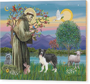 Wood Print featuring the digital art Saint Francis Blesses A Border Collie by Jean Fitzgerald