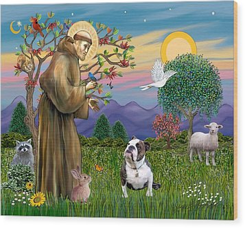 Wood Print featuring the digital art Saint Francis Blesses A Brown And White English Bulldog by Jean B Fitzgerald