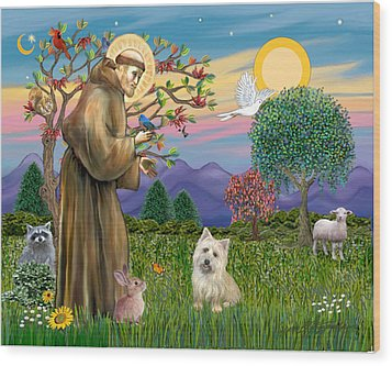 Wood Print featuring the digital art Saint Francis Blesses A Cairn Terrier by Jean B Fitzgerald