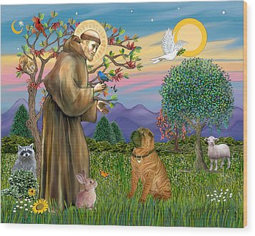 Saint Francis Blesses A Chinese Shar Pei Wood Print