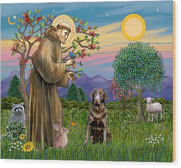 Wood Print featuring the digital art Saint Francis Blesses A Chocolate Labrador Retriever by Jean Fitzgerald