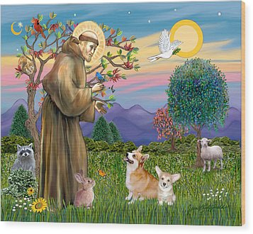 Saint Francis Blesses A Corgi And Her Pup Wood Print