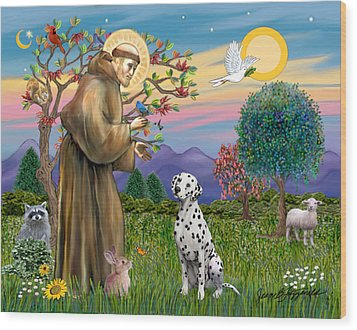 Wood Print featuring the digital art Saint Francis Blesses A Dalmatian by Jean Fitzgerald
