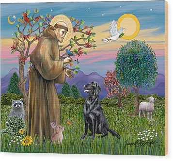 Wood Print featuring the digital art Saint Francis Blesses A Flat Coated Retriever by Jean B Fitzgerald