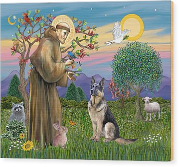 Wood Print featuring the digital art Saint Francis Blesses A German Shepherd by Jean Fitzgerald