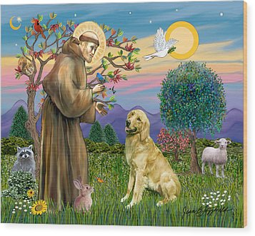 Wood Print featuring the digital art Saint Francis Blesses A Golden Retriever by Jean Fitzgerald