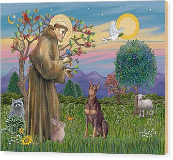 Wood Print featuring the digital art Saint Francis Blesses A Red Doberman by Jean Fitzgerald