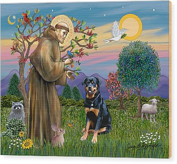 Wood Print featuring the digital art Saint Francis Blesses A Rottweiler by Jean Fitzgerald