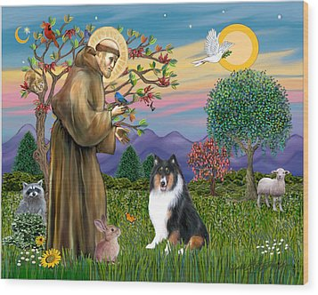 Wood Print featuring the digital art Saint Francis Blesses A Tri Color Collie by Jean B Fitzgerald
