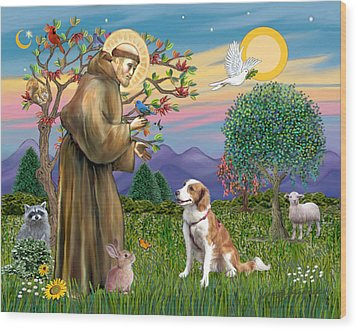 Wood Print featuring the digital art Saint Francis Blesses A Welsh Springer Spaniel by Jean Fitzgerald