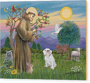 Wood Print featuring the digital art Saint Francis Blesses An English Bulldog by Jean Fitzgerald