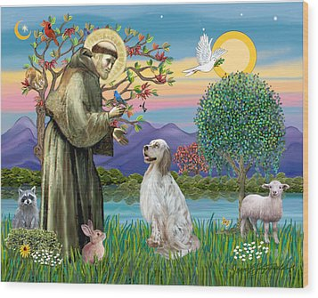 Wood Print featuring the digital art Saint Francis Blesses An English Setter by Jean B Fitzgerald