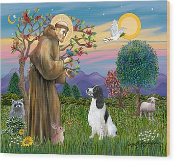 Wood Print featuring the digital art Saint Francis Blesses An English Springer Spaniel by Jean Fitzgerald