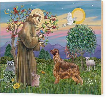 Wood Print featuring the digital art Saint Francis Blesses An Irish Setter by Jean Fitzgerald