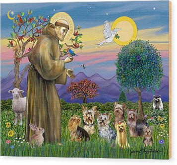 Wood Print featuring the digital art Saint Francis Blesses Seven Yorkies by Jean Fitzgerald